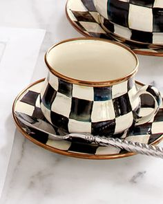 -51FH MacKenzie-Childs Courtly Check Enamel Teacup & Saucer
