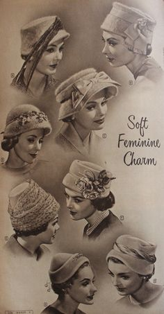 526fdb29227 1950s Womens Hats by Style. Cloche ...