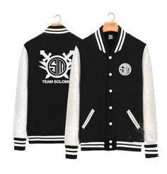 Primavera League of Legends TSM camisola para homens XXXL jaqueta de beisebol preto