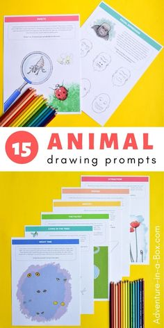 Following these animal drawing ideas, discover fun animal facts and create fifteen science-themed pictures! #homeschool #homeschooling #STEMeducation #STEMactivities #STEAMactivities #STEAMforkids Creative Activities For Kids, Stem Activities, Creative Kids, Preschool Ideas, Fun Facts About Animals, Animal Facts, Drawing Prompt, Drawing Ideas, Drawing Lessons For Kids