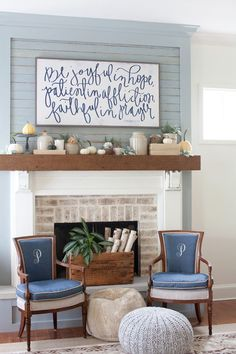 Do it Yourself Large Pretty Sign Focal Point with Neutrals and Blue Fall Mantel Inspiration Home Decor Ideas for Autumn via The Lettered Cottage