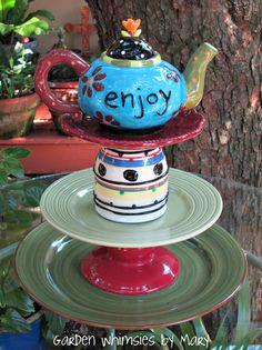 Teapot garden totem, centerpiece, dessert stand