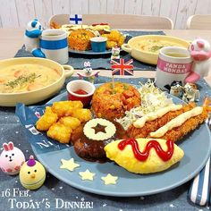 Kids Cafe, Plate Lunch, Kids Plates, Japanese Snacks, Yummy Food, Tasty, Food Drawing, Food Menu, Baby Food Recipes