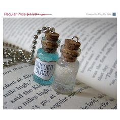 ON SALE Unicorn Blood 1ml Glass Vial Bottle Pendant Necklace Charm -... (£4.82) ❤ liked on Polyvore featuring jewelry, necklaces, clear jewelry, glass pendant necklace, unicorn jewelry, clear glass jewelry and glass jewelry