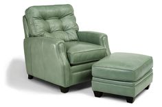 "Mint Leather Chair with Ottoman by Flexsteel - Dimensions: W:33"" D:39"" H:38"""