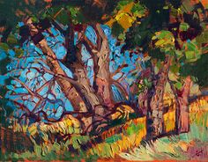 California oaks modern impressionist oil painting by Erin Hanson