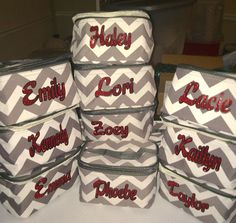 Chevron make-up bags, personalize for your team, name. Perfect for cheer camp,camps, bridesmaids gifts and everyday use by MommasCreations4you on Etsy