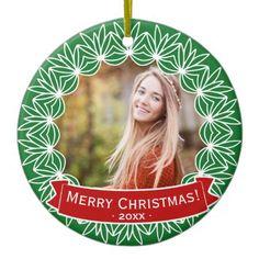 Merry Christmas Wreath Personalized Holiday Photo Ceramic Ornament - holidays diy custom design cyo holiday family