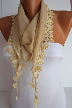 Gold Scarf Shawl Headband  Cowl with Lace Edge by DIDUCI on Etsy, $15.50