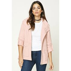 Forever21 Button-Front Utility Jacket ($31) ❤ liked on Polyvore featuring outerwear, jackets, blush, woven jacket, forever 21 jackets, collar jacket, pink zip up jacket and side zip jacket