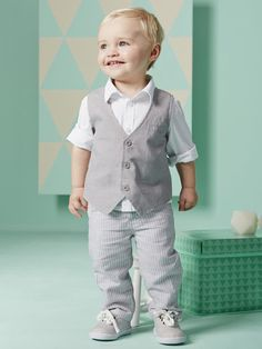 Baby Boy Grey Waistcoat Outfit Set with White Shirt and Pinstripe Pant First Birthday Outfits, Birthday Dresses, Boy Birthday, Handgemachtes Baby, Vintage Rose Gold, Rose Gold Morganite Ring, Pinstripe Pants, Dress Picture, Baby Boy Outfits