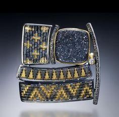 Sally Craig--pendant/broach: 22k gold, oxidized silver, black druzy quartz