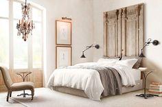 Creative Headboard Ideas 38 creative diy vintage - Home Design Home Bedroom, Bedroom Decor, Peaceful Bedroom, Bedroom Ideas, Master Bedroom, Bedroom Chair, Bedroom Furniture, Restoration Hardware Bedroom, Furniture Restoration
