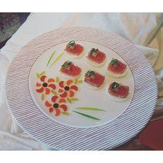 #KoreanBBQ canape - #beef #tataki #Ssamjang poached #Asianpear cucmber #Kimchi #sesame leaves. Gotta love #Gardemanger class! by amy12han
