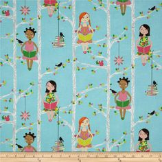 Michael Miller Quiet Time Aqua from @fabricdotcom  Designed by Tamara Kate for Michael Miller Fabrics, this fabric is perfect for quilting, apparel and home decor accents. Colors include pink, citrine, lime, brown, orange, white, black and aqua.