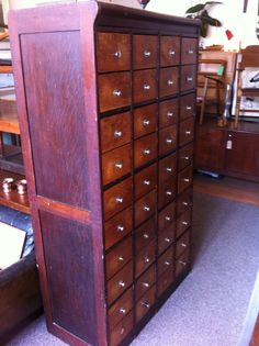 Antique French bank of drawers. From Bastille, Paris. Bastille, French Antiques, Filing Cabinet, Lockers, Locker Storage, Drawers, Paris, Furniture, Home Decor