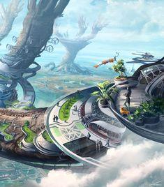 ArtStation - Ablution - CubeBrush's WORLDS, Thomas Chamberlain - Keen Fantasy City, Fantasy Castle, Fantasy Places, Fantasy World, Futuristic City, Futuristic Architecture, Fantasy Art Landscapes, Fantasy Landscape, Arte Robot