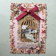 ChrissyBil | docrafts.com Card made using Docrafts botanicals products and wooden birdcage
