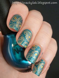 OPI Deck the Dolls, Essence A Piece of Forever, Paisley nail stamp, matte topcoat from Wacky Laki Indian Nail Art, Indian Nails, Funky Nails, Cute Nails, Diy Nails, Fabulous Nails, Gorgeous Nails, Stylish Nails, Trendy Nails