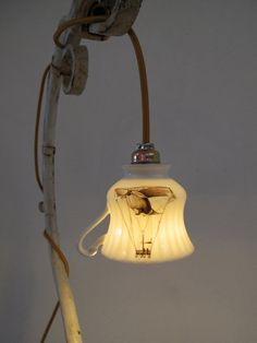 teacup lamp with sepia zeppelin aircraft print by capitulumvii, $79.00