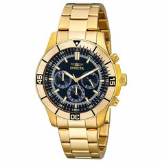 Invicta 12844 Men's Specialty Blue Dial Yellow Gold Steel Bracelet Chronograph Watch