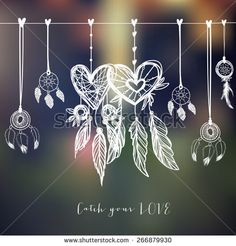 Dream catchers, vector illustration with hearts on blurred background.