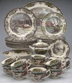 The Friendly Village (England 1883 Backstamp) 45 Piece Starter Set by Johnson Brothers Johnson Brothers China, Johnson Bros, Christmas China, Christmas Dishes, Antique Dishes, Vintage Dishes, Antique Plates, Vintage Plates, Vintage China