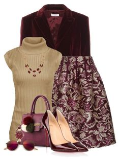 """""""Marsala Gold"""" by loveroses123 ❤ liked on Polyvore featuring Altuzarra, Oscar de la Renta, Christian Louboutin, Anne Klein, Talbots and Ray-Ban"""