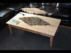 Table with epoxy resin inlay and matching lamp