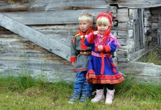 Indigenous people, sámi boy and a girl, Finland