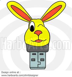 Bunny Usb Cartoon - DOWNLOAD - Vector Graphic >> http://harboarts.com/artwork/bunny-usb-cartoon-vector-graphics_template_1391184873197F4A/ #clipart #usd #illustration