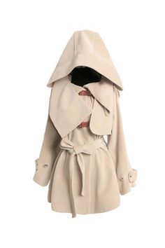 Cream coat, large hood, yet fitted and elegant