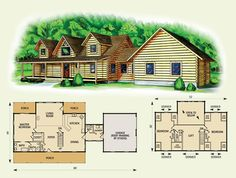 Fairmont log home and log cabin floor plan from Appalachian Log Structures. Its between this one and the Fair Oaks model. Log Cabin Floor Plans, Log Home Plans, Barn Plans, Bat House Plans, House Floor Plans, Metal Building Homes, Building A House, Simple House Design, Log Home Decorating