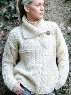 Irish Aran Sweater Cardigan A313 Natural
