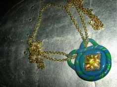 Beautiful polymer clay pendant with gold and Antique chain £15.00