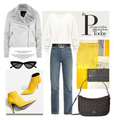 """11.02.18"" by caglatersak on Polyvore featuring moda, Eve Denim, Topshop, Coach, Miss Selfridge, Tiffany & Co., River Island, Le Specs, Gucci ve yellow"