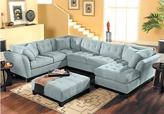 Shop for a Cindy Crawford Home   Metropolis Hydra Right   4 Pc Sectional Living Room at Rooms To Go. Find Living Room Sets that will look great in your home and complement the rest of your furniture. #iSofa #roomstogo