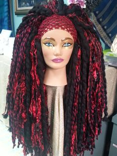 Red & Black Long Super Thick Yarn Wig Headdress Hairfall Tribal Bellydance Cosplay Fairy Burlesque Halloween