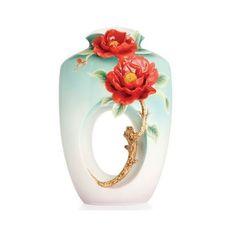 Red Camellia Vase | Porcelain | Franz Collection