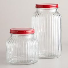 WorldMarket.com: Small Ribbed Jar with Red Lid