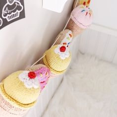 """Pebble Spotted! Look what someone did with Pebble's Sweet Rattles. ( # @tinylittlepads via @latermedia ) """"You guys know how much I adore crochet toys. Especially Hand Crochet ones. Why....simply because they live on for years. They not only are fun to play with but also make the most amazing decor. Here's a great example....this super cute Ice Cream & Donut Garland is made by putting Miliah's @pebblechild baby rattles on a wool string! Perfect for the Girls' Ice Cream Parlor in their…"""