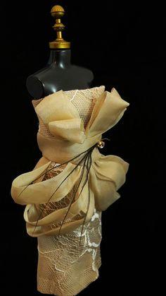 Coquetel Dress Dourado #dress #doll #vestido #boneca #barbie #dourado #ornamentos