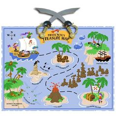 Elephants on the Wall -. Small Pirate Pete s Treasure Map Wall Mural. Be careful as you navigate the waters full of pirates treacherous rocks hungry s