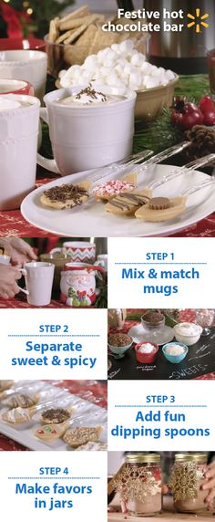 Warm up your next gathering with a holiday hot chocolate bar. Follow these easy tips for a fun, affordable drink station for your guests. Mix & match mugs: different styles add character. Label fixings. Separate sweet candy toppings from savory toppings & spices. Stir up some fun w/melted butterscotch & candy sprinkle dipping spoons. Layer leftover hot chocolate & toppings in jars for party favors or gifts. Walmart's your one stop for gatherings tips & tricks + low prices on everything you n...