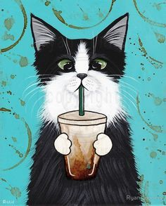 Tuxedo Cat with Iced Coffee Whimsical Cat Folk Art Giclee Print by KilkennyCat Art Frida Art, Image Chat, Cat Drawing, Pics Art, Crazy Cats, Cool Cats, Cat Art, Cats And Kittens, Kittens Meowing