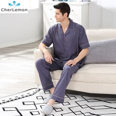 Collection Here Pijama Masculino Spring And Summer Pajamas Set Mens Thin Section Of Sleeved Pants Luxury Handsome Home Service Two Suits Men's Sleep & Lounge