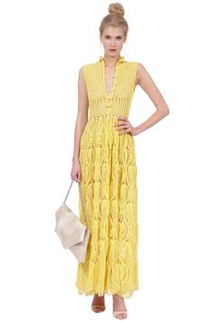 Crinochet: Amarillo! ( Yellow Dress ) with free diagrams at source