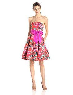 Eliza J Women's Strapless Floral Dress, Print, 6