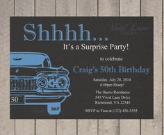 Adult Birthday Invitation, Man's Adult Birthday Invitation, Surprise, Birthday Party, For Men, 30th, 40th, 50th, 60th, 70th, Car, BA295 on Etsy, $13.00