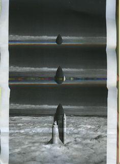 Glitch art/altered found photograph: NASA space shuttle ascending through clouds